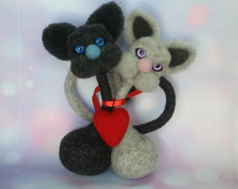 Two Lovely Cats. Cat Love. Pair of Cats.Valentine's gift. Needle Felted Cats. Couple of Cats. He and She.Love. Felted Animal. Ready to Ship.