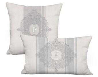 Intricate Frame Initial Monogram Pillow - Pillow Cover 12x16 12x18 12x20 12x24 14x20 14x22 14x26 16x20 16x24 16x26 16x 28x Inch Linen Cotton