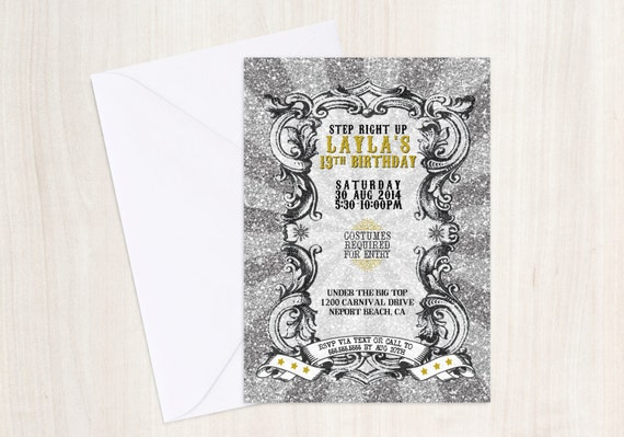 Glitter Christmas Carnival Invitation - Christmas Party Invite - Vintage Christmas Glitter