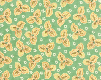 Fig Tree Fabric Teal Hazel and Plum Fabric - Teal Floral Leaf Quilt Fabric By The 1/2 Yard