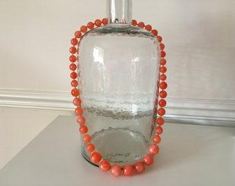 Vintage Vibrant Orange Beaded Necklace
