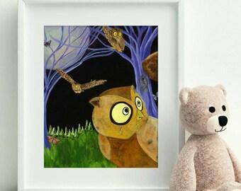 Owl Painting - Owl Print - Fine Art Print - Giclee Print - Owl Decor - Owl Decorations - Owl Nursery Decor - Woodland Decor - Woodland Print