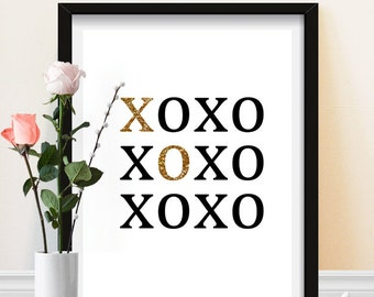 XOXO Print - Black and Gold - Sparkle - Typography - Minimalistic Wall Decor