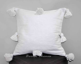 Moroccan Pom Pom Decorative Throw Pillow Cover Cotton, Accent Pillow Couch Sofa, Handwoven on Traditional Looms. #PC016