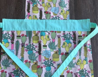 cactus apron, baking, apron, kids apron, play kitchen, cooking apron, cute cactus, succulants, pink and teal, polka dot apron