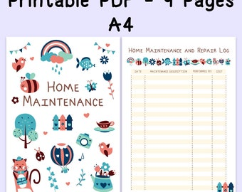 Home Maintenance Printable, Home Management Planner, Maintenance Checklist for Filofax A4, A4 Insert, INSTANT DOWNLOAD