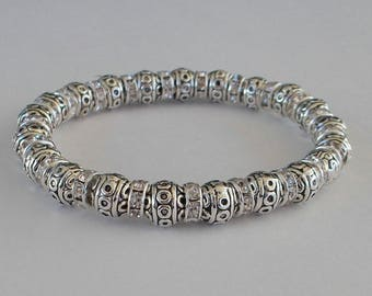 Silver & Clear Crystal Stretch Bracelet