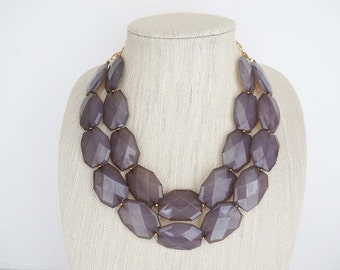 Grey Faceted Bead Statement Necklace