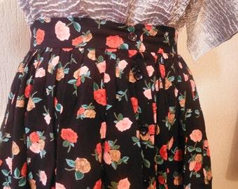 SALE! Black Floral Button Down Skirt - Size 8 10 S