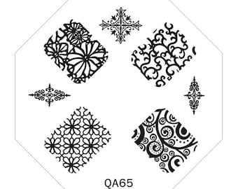 Cute QA65 Octagonal  Stamping Metal Plate with free gift of scraper&stamper