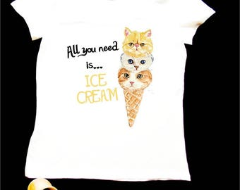 Ice cream cat funky style hand painted T-shirt
