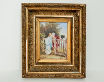 Antique French Oil Painting LAURE LEVY. Antique Porcelain Plaque. c.1800's. French Decor. Home Decor. Vintage French Painting. Free Shipping