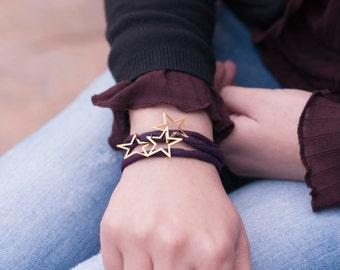 Stars and Silk Bracelet. Aubergine Stars Bracelet. Delicate Bracelet. Silk Jewelry. Silk Bracelet. Dainty Stars Bracelet. Dainty Bracelet