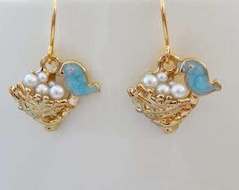 Baby Bird Earrings, Bluebird Earrings, Small Dangly Earrings, Bird Nest Earrings, Gift for Her,