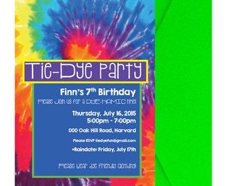 Tie Dye Party Invitation Tie Dye Birthday Party Invite