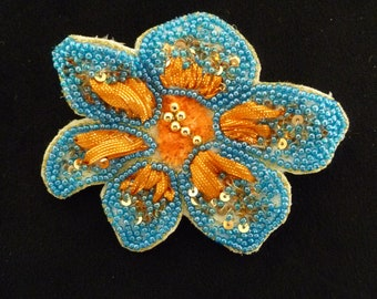 blue and orange FLOWER BROOCH