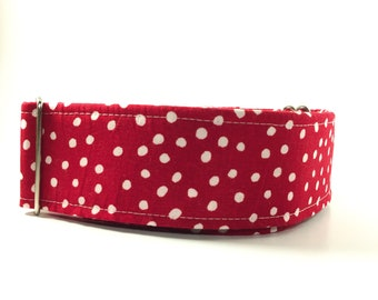 Red & White Polka Dot Dog Collar - Buckle or Martingale