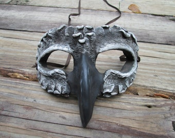 grey gull, bird mask, masquerade mask, costume mask, fantasy mask, owl guardian, custom made, Halloween, masked ball