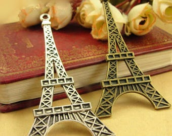 Vintage style large Eiffel Tower necklace pendants metal charms supplies A1008