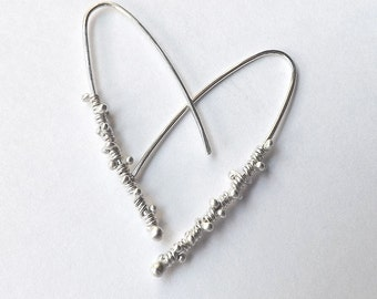 Arc Threader Earring, Open Hoop Earrings, Sterling Silver Hoops, Silver Wrapped Threaders Jewelry Gift for Her