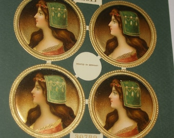 LITTAUER and BOYSEN GERMANY 4 Round Unused Victorian Diecut Images of Woman's Portrait on Sheet (Cigar Box Labels?)