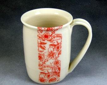 Coffee Mug 12 oz Red and White Translucent Porcelain Coffee Cup Ceramic Mug Pottery Coffee Mug Hand Thrown Mug Unique Coffee Mug Pottery 8