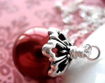 Red Glass Pearl Necklace, Silver Chain, Cranberry Red Pearl Pendant, Christmas Necklace, Valentine's Day Jewelry, Winter Wedding Bridesmaid
