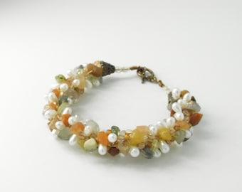 Vintage Seaglass - Stones - Fresh Water Pearls Bracelet