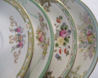 China Saucers Mismatched, Tea Party, Garden Party, Cottage Chic, Wedding, Bridal Shower, Bridal Luncheon - Set of 4