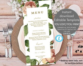 wedding menu download, wedding menu template, printable menu, editable wedding menu card, rustic wedding menu,  4x9, Templett, greenery menu
