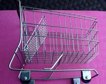 Shopping Cart for a Doll.  Metal construction. Baby Seat in Cart. Rolling wheels.  Fun with Dolls for Older Child. Doll Shopping Cart.