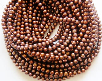 6 mm round fresh water pearls,chocolate brown, natural pearls, jewelry making supplies, circle of stones, pearl strands