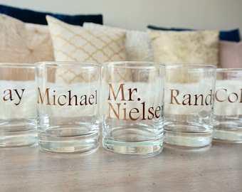 Personalized Whiskey Glasses - 14 oz. | Groomsmen Gifts | Lowball Glass | Wedding Party Cups