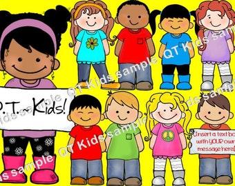 CLIP ART -  Q-T Kids  - Childrens Clip Art