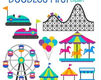 Amusement Park Digital Clip Art for Scrapbooking Card Making Cupcake Toppers Paper Crafts