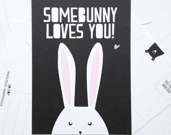 Postcard ' Somebunny loves You ' A6