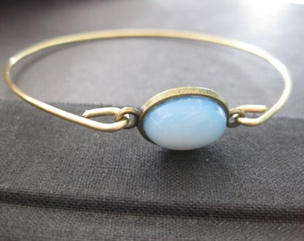 ON SALE   Opal Bangle Bracelet  14k Gold Bangle Bracelet, Opal bracelet, Fire Opal Jewelry, October Birthday Gift, October Birthstone