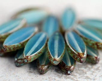 Opal Light Teal Picasso Czech Glass Beads, Spindle Table Cut Beads, Oval Beads, 18x7mm (12 pcs) NEW