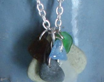 sea glass and stone necklace