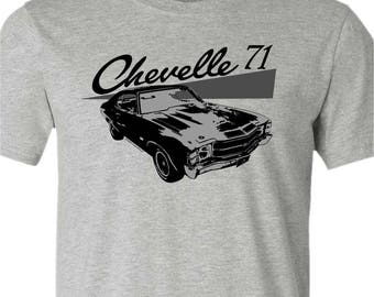 Muscle Car T-Shirt-1971 Chevelle t-shirt-Grey t-shirt-Classic Car gift,Muscle car,gift for him,dad gift,brother gift,gifts under 25