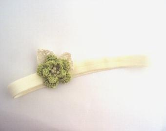 crochet Baby Flower Headband baby headband, cotton headband, soft, Baby girl headband, , photo prop, gift