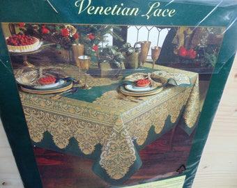 Gold metallic Venetian Lace dark green fancy tablecloth 100% cotton NIP oval