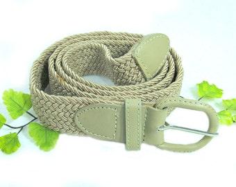 Tan woven belt. ,men's woven belt , men's belt, preppy belt - casual belt - unisex belt - size up to 42 ,  # B 20