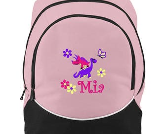 FREE SHIPPING -Dinosaurs Daisy Butterfly  Personalized Monogrammed Backpack Book Bag school tote  - NEW