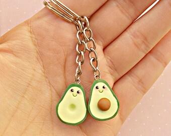 Avocado Best Friend Keychain Set - Friendship Keychain - Friendship Gift - BFF Keychain - Best Friends Gift - Key Ring Set for 2
