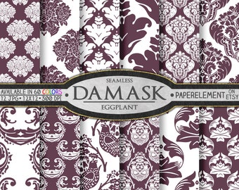 Eggplant Purple Damask Digital Paper Pack - Printable Scrapbook Paper Patterns - Instant Download
