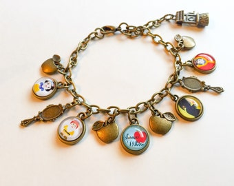 Snow White charm bracelet, Snow White, disney inspired, disney jewelry, Snow White jewelry, Snow White bracelet