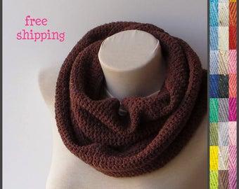 Knit infinity scarf, Crochet scarf, Scarf women, Brown infinity scarf, Cozy infinity scarf, Cowl scarf, Hand knit scarf, Knit loop scarf.