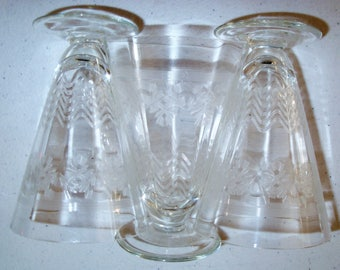 Etched Crystal Stemware Clear Floral & Wavy Lines Set Of 3