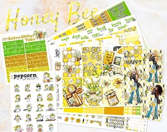 NewRELEASE Honey Bee set kit weekly stickers - for classic medium HAPPY PLANNER - sunflowers summer floral flowers girls fashion